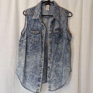 3 For $15 Studded Denim Vest Sz XL
